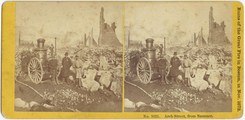 Великий пожар Бостона. 1872 год, США. Арк Стрит от Саммер Стрит