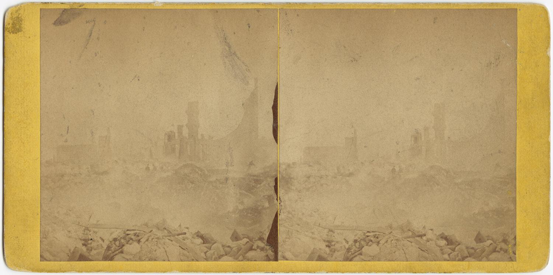 Великий пожар Бостона. 1872 год, США. Вид на руины сквозь дым