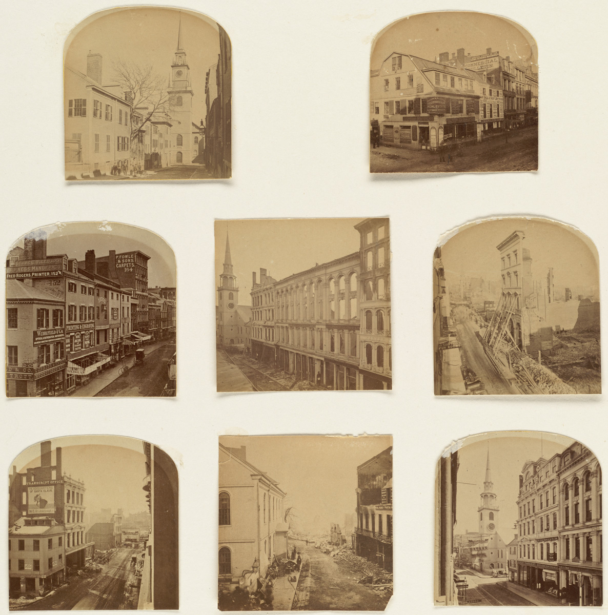 Великий пожар Бостона. 1872 год, США. Вашингтон Стрит до и после пожара