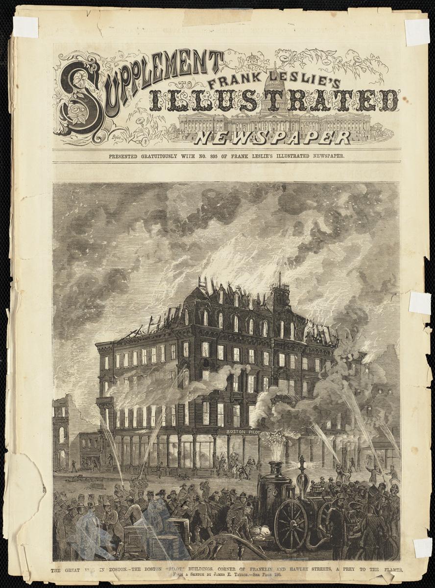 Великий пожар Бостона. 1872 год, США. Угол Франклин и Холи Стрит