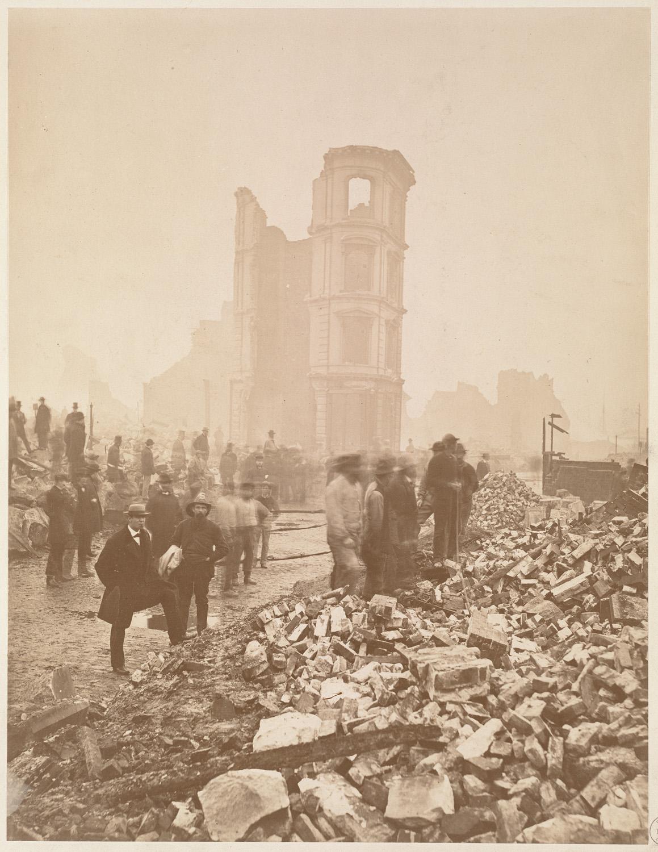 Великий пожар Бостона. 1872 год, США. Угол Хай и Саммер Стрит