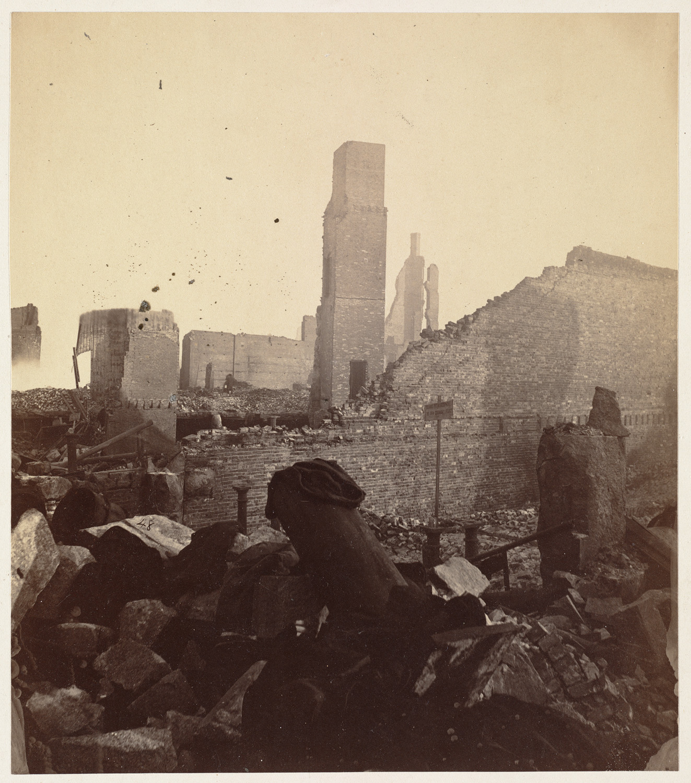 Великий пожар Бостона. 1872 год, США. Франклин Сквер