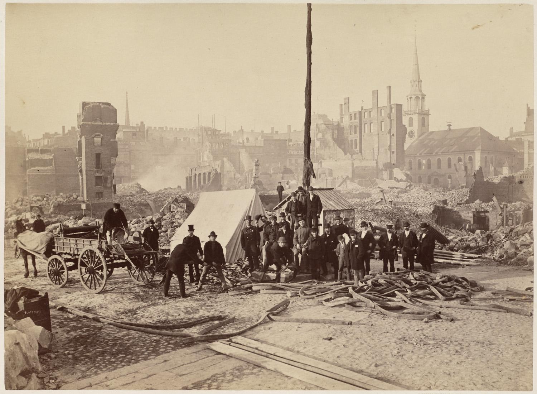 Великий пожар Бостона. 1872 год, США. Южный молельный дом. Палаточный лагерь