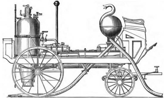 Первая построенная паровая пожарная машина - Лондон, 1829, «Novelty» (Новинка). Конструктор - Джордж Брейтуэйт