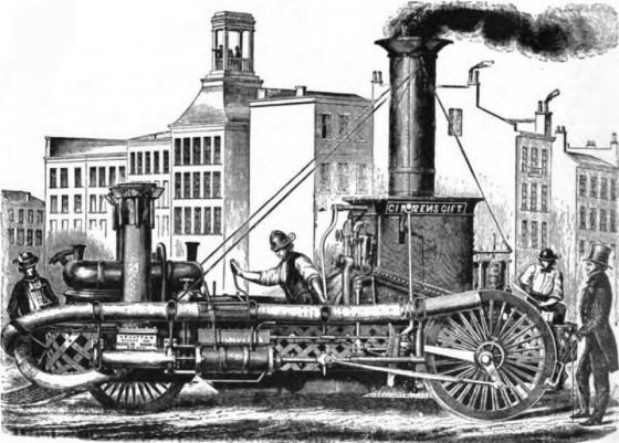 """Паровая пожарная машина """"Подарок горожан"""", построенная М. Латта, 1854 год"""