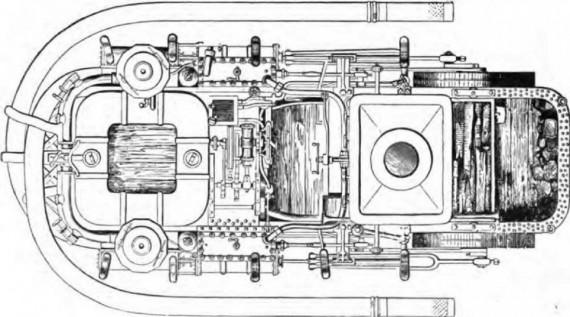 """Паровая пожарная машина """"Подарок горожан"""", вид сверху, 1854 год"""