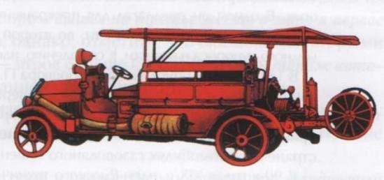 Первый советский пожарный автомобиль АМО-Ф-15, открытая компоновка (1925 год)
