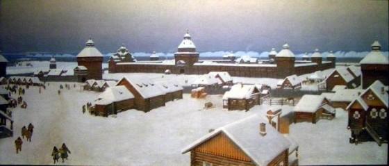 Якутск в начале 18 века. Картина Попова И.В. Якутский художественный музей