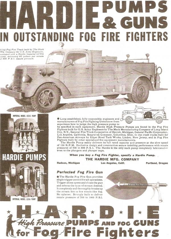 Реклама насосов HARDIE PUMPS для автомобиля Type 25 Mack Class 125 USA 502471