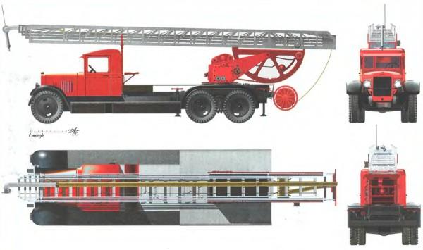 Пожарная автолестница К-30 на шасси ЗиС-6