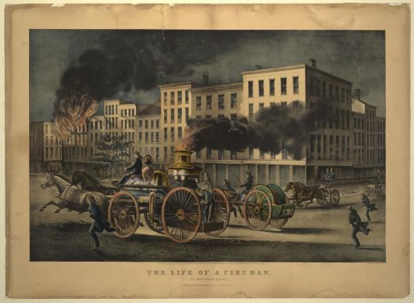 """Серия гравюр """"Жизнь пожарных"""" (The Life of Firemen). Городская система (The Metropolitan System). Джон Кэмерон, 1866 год"""