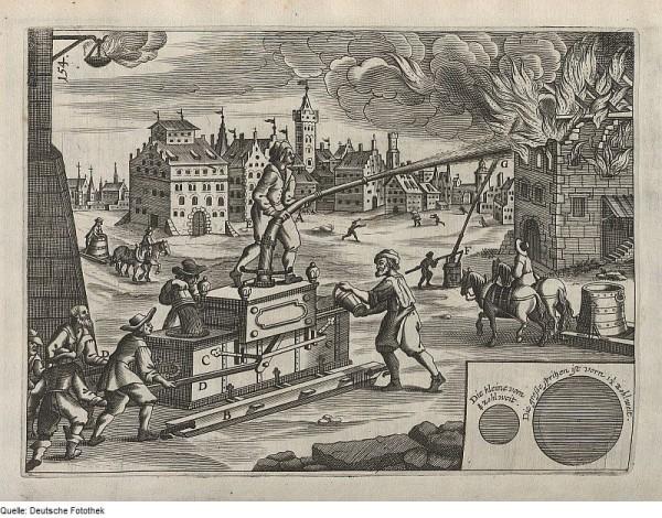 Brandbekämpfung mit einem Feuerlöschgerät 1661 год