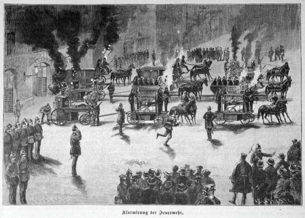"""Немецкая гравюра """"Пожарная тревога"""", 1888 год"""