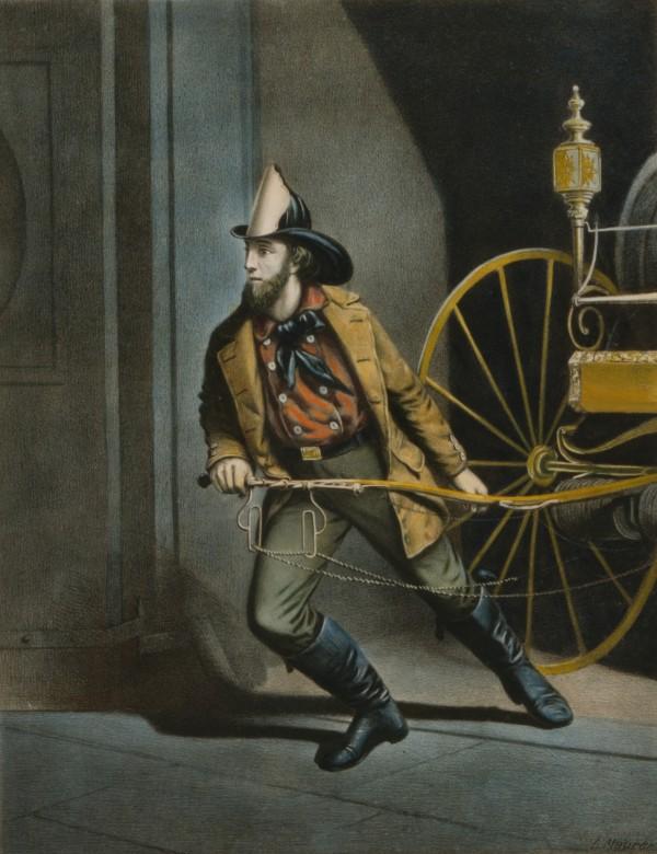 """Серия гравюр """"Американский пожарный"""" (The American Fireman). Всегда готов (Always Ready). Луис Маурер, 1858 год"""