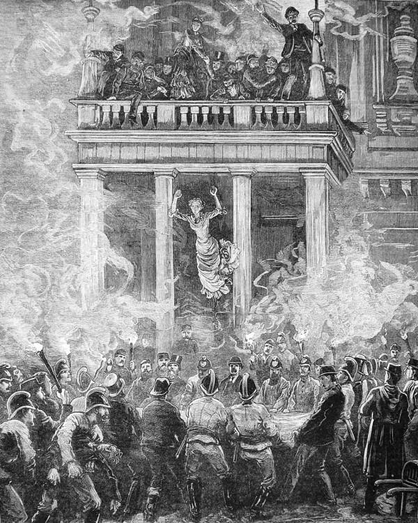 Пожарные спасают людей из ловушки при пожаре в Ринг-театре в Вене, 1881 год