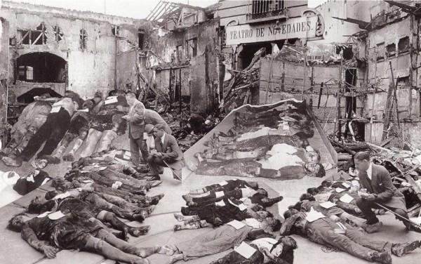 """Жертвы пожара в театре """"Новедадес"""", Мадрид, Испания, 1928 год"""