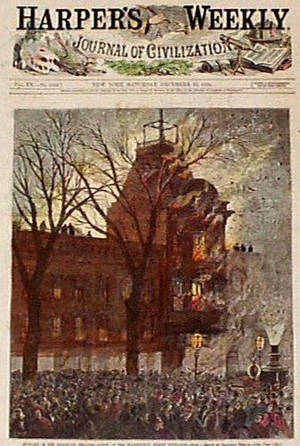 Пожар в театре Бруклина. Обложка Harpers's Weekly