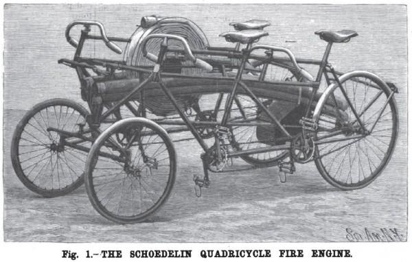 Пожарный велосипед-квадроцикл Shoedelin. Франция, 1896 год