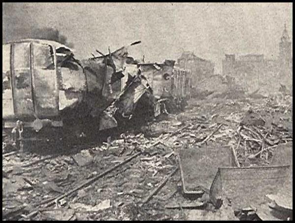 Разрушения после взрыва. Железнодорожная ветка