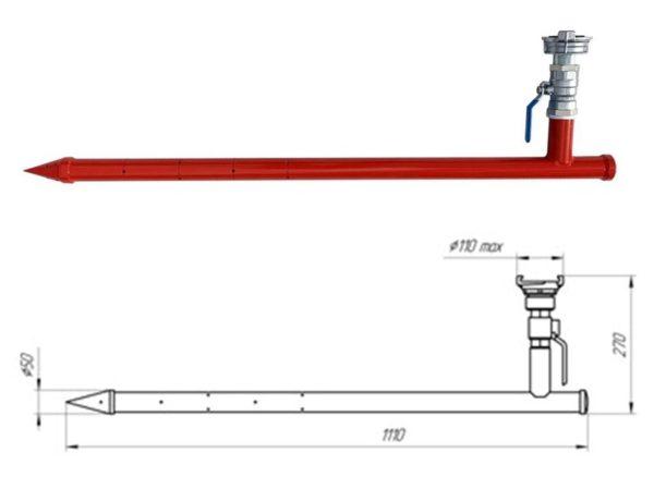 Ствол пробойник пожарный ручной СППР-50